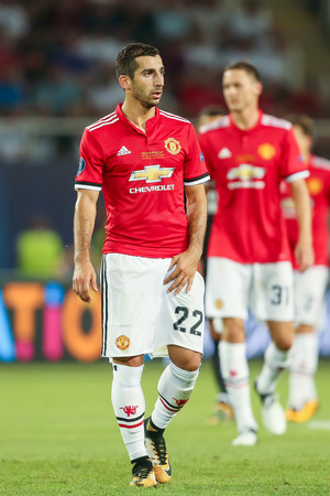 Skopje, FYROM - August 8,2017: Manchester United Henrikh Mkhitaryan during the UEFA Super Cup Final match between Real Madrid and Manchester United at Philip II Arena in Skopje Editorial