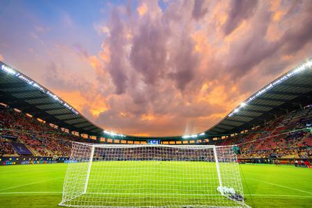 Skopje, FYROM - agosto 8,2017: Vista interior del estadio Philip II Arena en Skopje durante el partido Fútbol final de la Supercopa de la UEFA entre el Real Madrid y el Manchester United Foto de archivo - 84383472