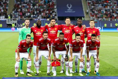 Skopje, FYROM - August 8,2017: Manchester United players pose for a pictures at the start of the UEFA Super Cup Final match between Real Madrid and Manchester United at Philip II Arena in Skopje Editorial