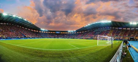 Skopje, FYROM - August 8,2017: Innenansicht des vollen Stadions Arena-Philip-II in Skopje während des abschließenden Fußballs UEFA-Supercup zwischen Real Madrid gegen Manchester United