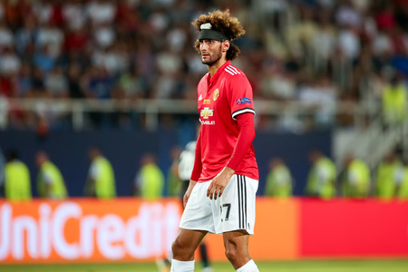 Skopje, FYROM - August 8,2017: Manchester United Marouane Fellaini during the UEFA Super Cup Final match between Real Madrid and Manchester United at Philip II Arena in Skopje