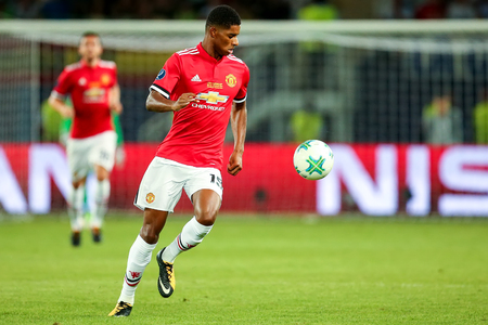 Skopje, FYROM - August 8,2017: Manchester United Marcus Rashford during the UEFA Super Cup Final match between Real Madrid and Manchester United at Philip II Arena in Skopje Stok Fotoğraf - 84383519