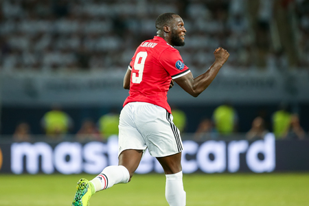 Skopje, FYROM - August 8,2017: Manchester United Romelu Lukaku during the UEFA Super Cup Final match between Real Madrid and Manchester United at Philip II Arena in Skopje Editöryel