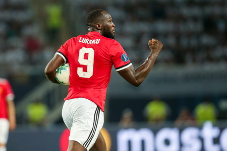 Skopje, FYROM - August 8,2017: Manchester United Romelu Lukaku during the UEFA Super Cup Final match between Real Madrid and Manchester United at Philip II Arena in Skopje Publikacyjne