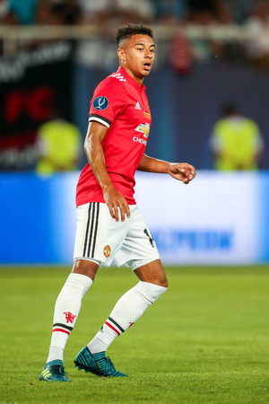 Skopje, FYROM - August 8,2017: Manchester United Jesse Lingard during the UEFA Super Cup Final match between Real Madrid and Manchester United at Philip II Arena in Skopje