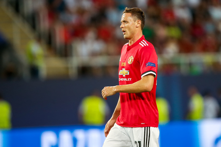 Skopje, FYROM - August 8,2017: Manchester United Nemanja Matic during the UEFA Super Cup Final match between Real Madrid and Manchester United at Philip II Arena in Skopje Editorial