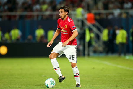 Skopje, FYROM - August 8,2017: Manchester United Matteo Darmian during the UEFA Super Cup Final match between Real Madrid and Manchester United at Philip II Arena in Skopje Editöryel