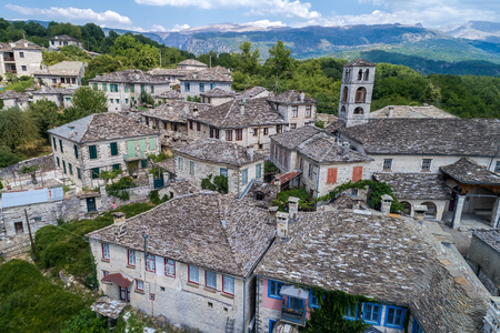 aerial view of old stone houses in the village Dilofo of Zagorochoria, Epirus, Western Greece Stock Photo - 84771527