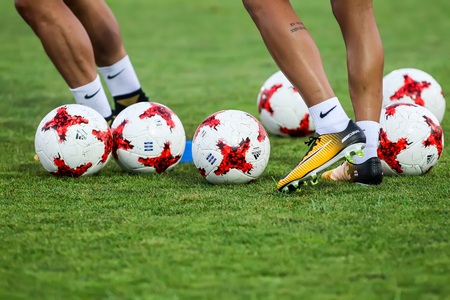 Thessaloniki, Greece- August 11, 2017: Closeup of soccer ball and feet of the player during the training