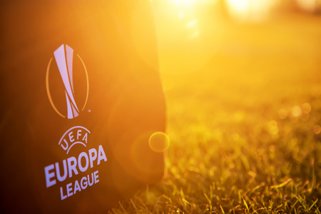 Thessaloniki, Greece- August 2, 2017: Uefa Europa League Logo on the bag Î¿n the pitch in the sunset