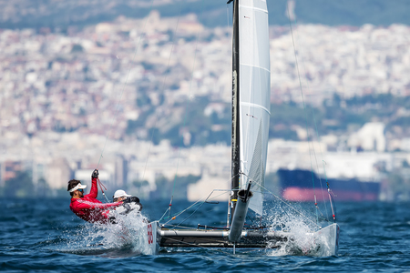deportes nauticos: Thessaloniki, Greece - August 30, 2017: Athletes yachts in action during 2017 Tornado Open World, Global Mixed and Youth championships