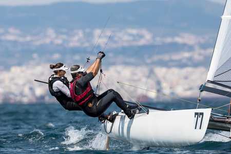 Thessaloniki, Greece - August 30, 2017: Athletes yachts in action during