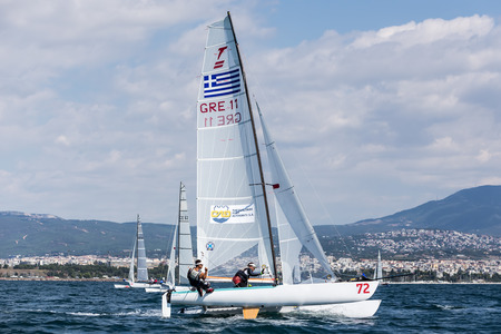 Thessaloniki, Greece - August 30, 2017: Athletes yachts in action during 2017 Tornado Open World, Global Mixed and Youth championships