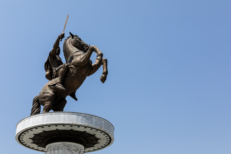 Skopje, FYROM - August 8, 2017: City center of Skopje, is the capital city of the country, FYROM. Ιt is the countrys political, cultural, economic, and academic center. Alexander the Great Monument