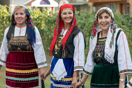 Thessaloniki, Greece - Sept  21, 2017: Group performing Greek folklore dance during the harvest season Editorial