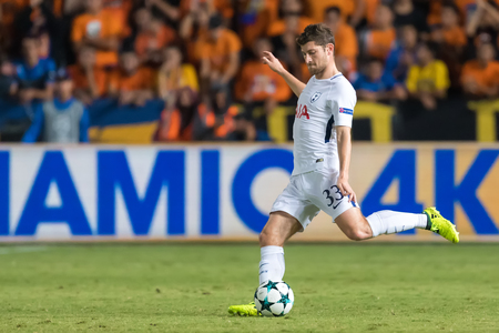 Nicosia, Cyprus - Semptember 26, 2017: Player of Tottenham Ben Davies in action during the UEFA Champions League game between APOEL VS Tottenham Hotspur