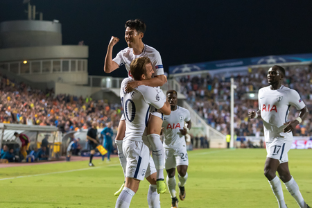 Nicosia, Cyprus - Semptember 26, 2017: The players of Tottenham Harry Kane (L), Heung-Min Son(R) celebrate during the UEFA Champions League game between APOEL VS Tottenham Hotspur Redactioneel