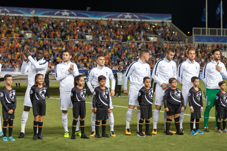Nicosia, Cyprus - Semptember 26, 2017: Tottenham line up during the UEFA Champions League game between APOEL VS Tottenham Hotspur