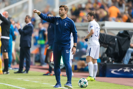 Nicosia, Cyprus - Semptember 26, 2017: Coach of Tottenham Mauricio Pochettino during the UEFA Champions League game between APOEL VS Tottenham Hotspur