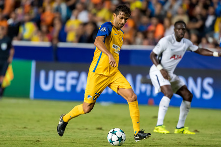 Nicosia, Cyprus - Semptember 26, 2017: Player of Tottenham Nuno Morais in action during the UEFA Champions League game between APOEL VS Tottenham Hotspur