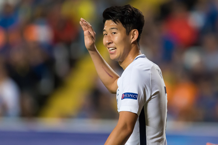 Nicosia, Cyprus - Semptember 26, 2017: Player of Tottenham Heung-Min Son in action during the UEFA Champions League game between APOEL VS Tottenham Hotspur