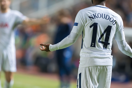 Nicosia, Cyprus - Semptember 26, 2017: Player of Tottenham Georges-Kevin NKoudou in action during the UEFA Champions League game between APOEL VS Tottenham Hotspur
