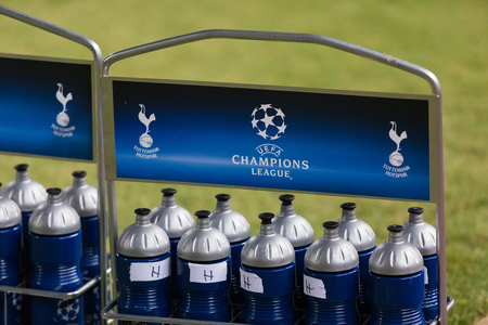 Nicosia, Cyprus - Semptember 26, 2017: Champions League water bottle during the UEFA Champions League game between APOEL VS Tottenham Hotspur Editorial