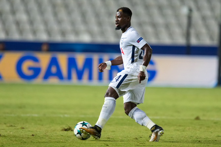 Nicosia, Cyprus - Semptember 26, 2017: Player of Tottenham Serge Aurier in action during the UEFA Champions League game between APOEL VS Tottenham Hotspur