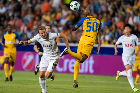 Nicosia, Cyprus - Semptember 26, 2017: Player of Tottenham Harry Kane (L) and of APOEL Carlao (R) in action during the UEFA Champions League game between APOEL VS Tottenham Hotspur