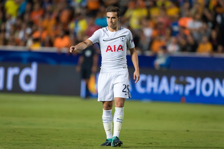 Nicosia, Cyprus - Semptember 26, 2017: Player of Tottenham Harry Winks in action during the UEFA Champions League game between APOEL VS Tottenham Hotspur Editorial