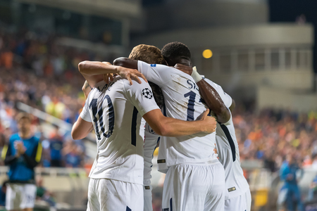 Nicosia, Cyprus - Semptember 26, 2017: The players of Tottenham celebrate during the UEFA Champions League game between APOEL VS Tottenham Hotspur Editorial