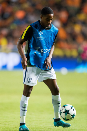 Nicosia, Cyprus - Semptember 26, 2017: Player of Tottenham Kyle Walker-Peters in action during the UEFA Champions League game between APOEL VS Tottenham Hotspur