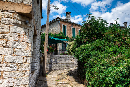 old stone houses in the village Dilofo of Zagorochoria, Epirus, Western Greece Editorial