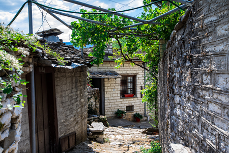 old stone houses in the village Dilofo of Zagorochoria, Epirus, Western Greece Editorial