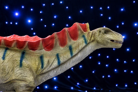 realistic of beautiful dinosaur model in the theme park in Thessaloniki