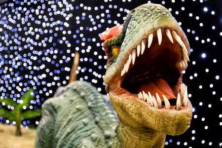 hysteria: realistic of beautiful dinosaur model in the theme park in Thessaloniki