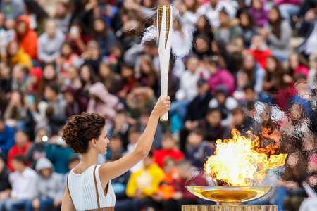 Athens, Greece - Oct 31,2017: The Olympic flame was handed to organizers of the Pyeongchang (South Korean) Winter Olympics Feb. 9-25, 2018. the ceremony was held in Panathenaic Kallimarmaro Stadium