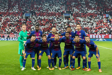 Piraeus, Greece - October 31, 2017: Barcelona players pose for a pictures at the start of the UEFA Champions League game between Olympiacos vs FC Barcelona at Georgios Karaiskakis stadium
