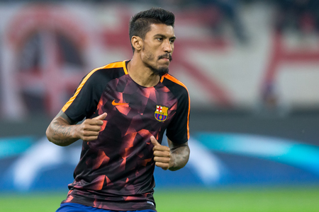 Piraeus, Greece - October 31, 2017: Player of Barcelona Paulinho in action during the UEFA Champions League game between Olympiacos vs FC Barcelona at Georgios Karaiskakis stadium