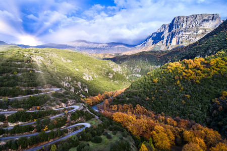 Aerial view of the the Vikos Gorge in the autumn and provincial road with many zigzag in the Epirus Zagorohoria, Greece. National park Standard-Bild