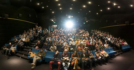 Thessaloniki, Greece - November 6, 2017: Spectators watching in the cinema during the 58th international Thessaloniki Film Festival at Jonh Cassavetes Cinema Editorial