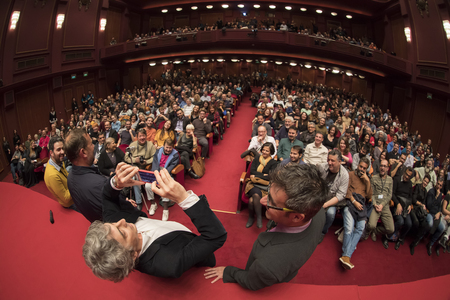 Thessaloniki, Greece - November 7, 2017: Director and screenwriter Alexander Payne (C) during the 58th international Thessaloniki Film Festival at Olympion Cinema