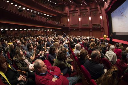 Thessaloniki, Greece - November 7, 2017: Spectators watching in the cinema during the 58th international Thessaloniki Film Festival at Olympion Cinema