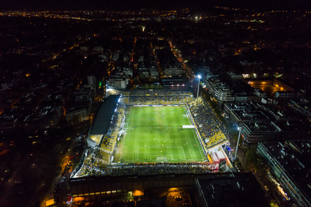 Thessaloniki, Greece, November 7, 2017: Aerial shot of the Kleanthis Vikelidis Stadium full of fans during a friendly football match the between teams ARIS vs Boca Juniors