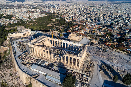 Aerial view of Parthenon and Acropolis in Athens,Greece Standard-Bild