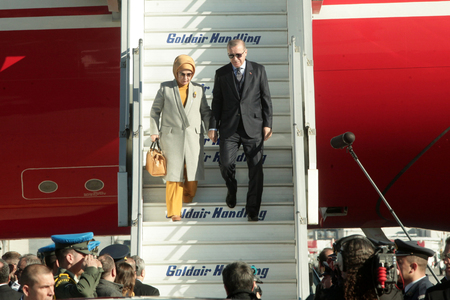 Athens, Greece - December 7, 2017: Arrival of the President of the Republic of Turkey, Recep Tayyip Erdogan and his wife Emine, at Athens International Airport Eleftherios Venizelos Editorial