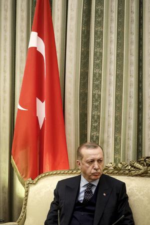 Athens, Greece - December 7, 2017: Turkeys President Recep Tayyip Erdogan listens to Greeces President Prokopis Pavlopoulos, prior to their meeting in Athens, Greece Editorial