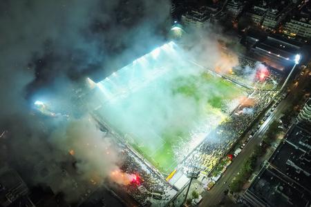 Thessaloniki, Greece, November 7, 2017: Aerial shot of the Kleanthis Vikelidis Stadium full of fans during a friendly football match the between teams ARIS vs Boca Juniors