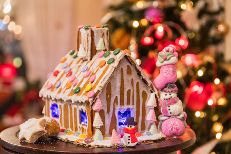 Christmas gingerbread cookie house. celective focus