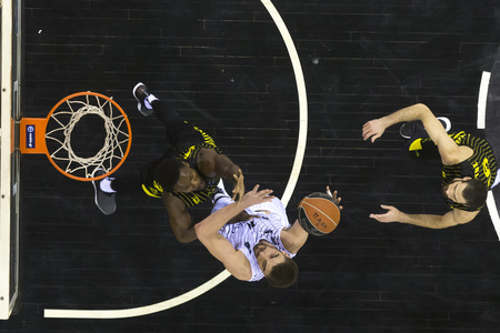 Thessaloniki, Greece, November 11, 2017: Some players in action during the Greek Basket League game Paok vs Aris at PAOK sports arena.